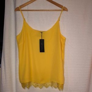 RACHEL ZOE - Sleeveless Lace Trim Top -Yellow - L